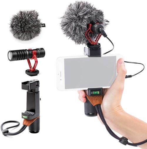 BOYA by-MM1 Cardioid Shotgun Microphone with SK-PSC1 SmartGrip